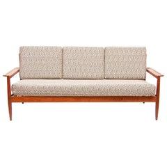 Vintage Unusual Danish 1960s Teak 3-Seat Sofa Couch Grete Jalk Style Midcentury