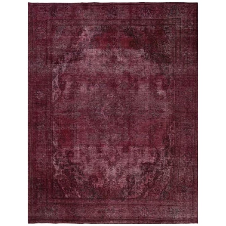Vintage Distressed Overdyed Persian Rug For Sale
