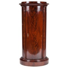 Mahogany Oval Pedestal Cabinet, with Carved Corinthian Columns