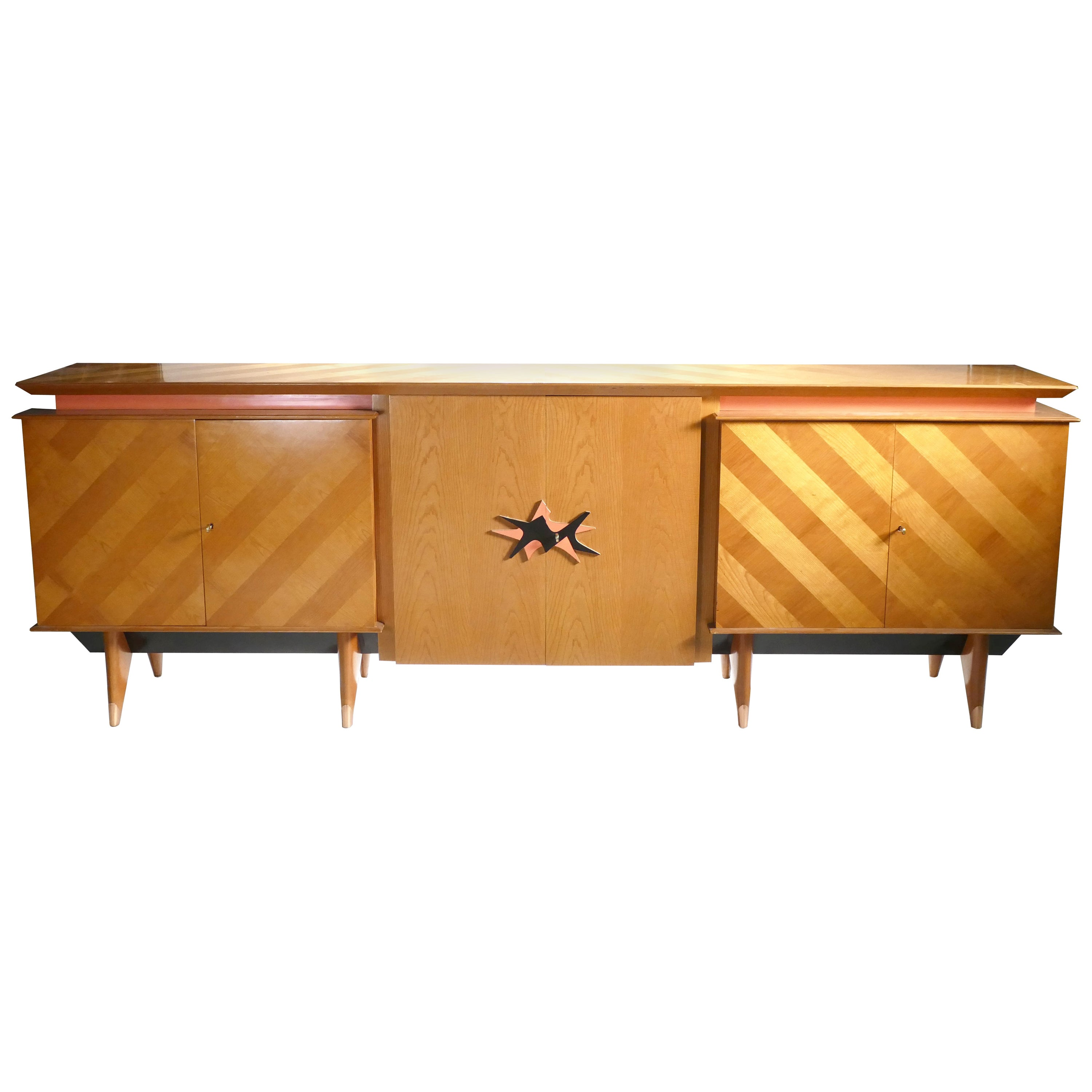 French Midcentury Extra Large Modernist Oak Sideboard Royère Style