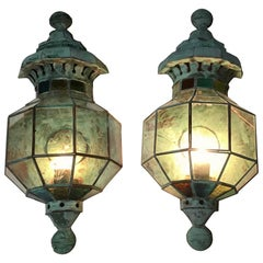 Pair of Funky Handcrafted Copper Wall Lantern