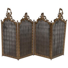 French Bronze and Iron Rococo Four Fold Extending Spark Guard