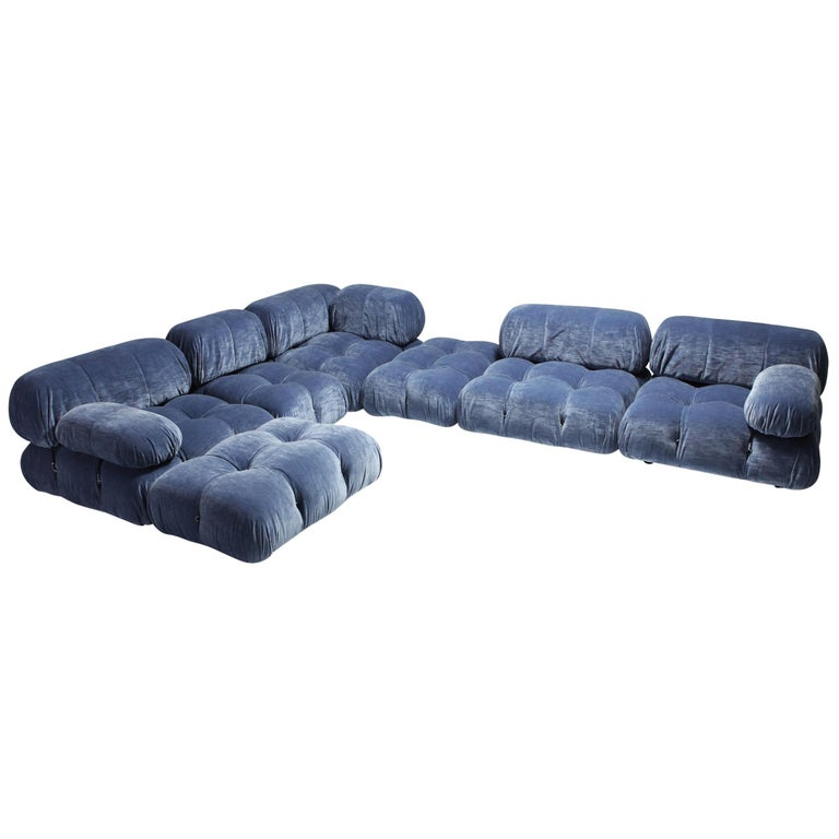 Mario Bellini Camaleonda Sectional Sofa In Blue Velvet At