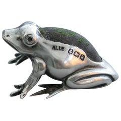 Edwardian Novelty Miniature Silver Frog Pin Cushion, by Adie & Lovekin, 1909