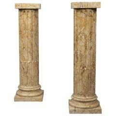 Pair of Napoléon III Style Marmor Giallo Fluted Marble Columns, circa 1900