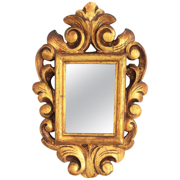 Spanish 1920s Baroque Style Carved Giltwood Wall Mirror Miniature For Sale