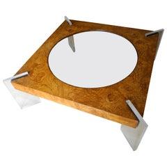 Mid-Century Modern Burled Wood Large Coffee Table by Vladimir Kagan