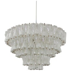 Mid-Century Modern Solid Venini Glass Italian Suspension Lamp