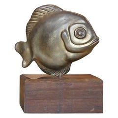 Modern Brass Sarreid Style Fish Sculpture on a Walnut Base