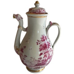 Richard Ginori Mid-19th Century Porcelain Tea Pot with Fuchsia Italian Landscape