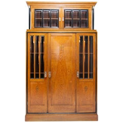 Early 20th Century Viennese Secession Library Cabinet in Oak