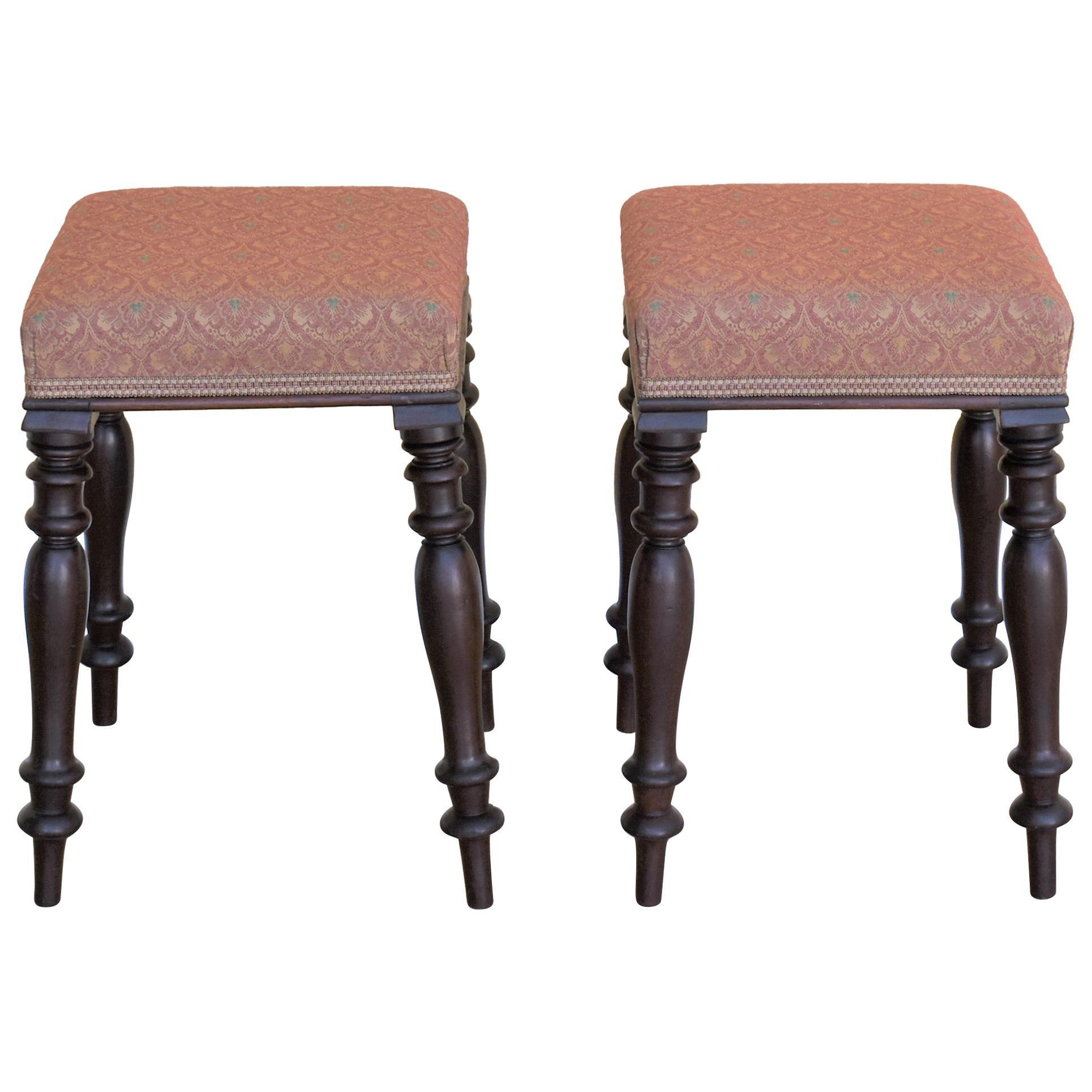 Pair of Victorian Mahogany Upholstered Stools