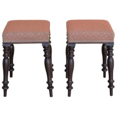 Pair of Victorian Mahogany Upholstered Stools