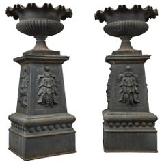 Large and Impressive Pair of Cast Iron Urns, circa 1860