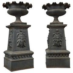 Large and Impressive Pair of Cast Iron Urns, circa 1860
