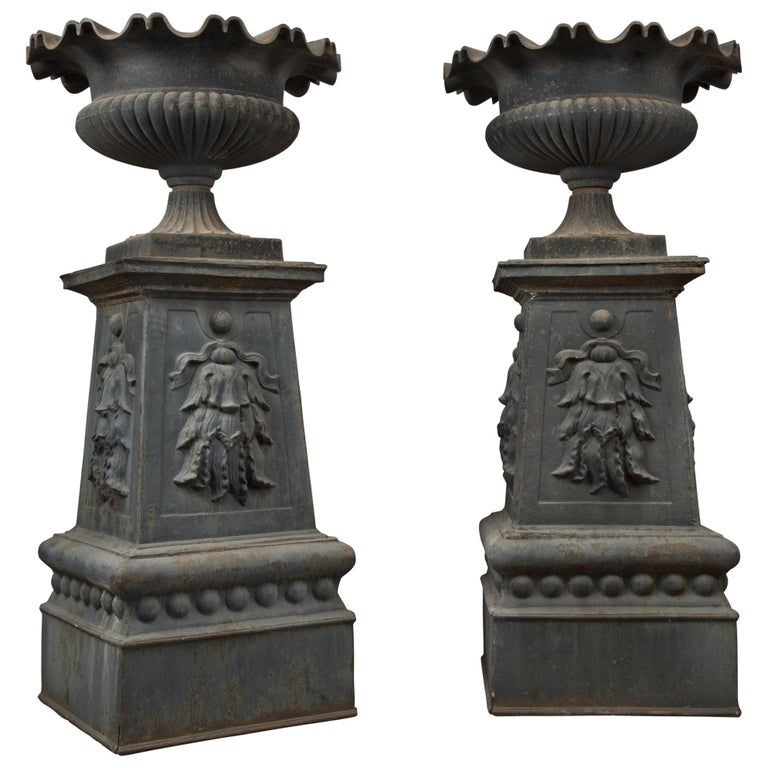 Large and Impressive Pair of Cast Iron Urns, circa 1860 For Sale