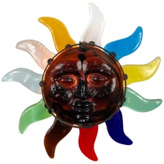 """Big """"Sun"""" Face Wall Sconces Lamp in Murano Glass, Italy, 1980s"""
