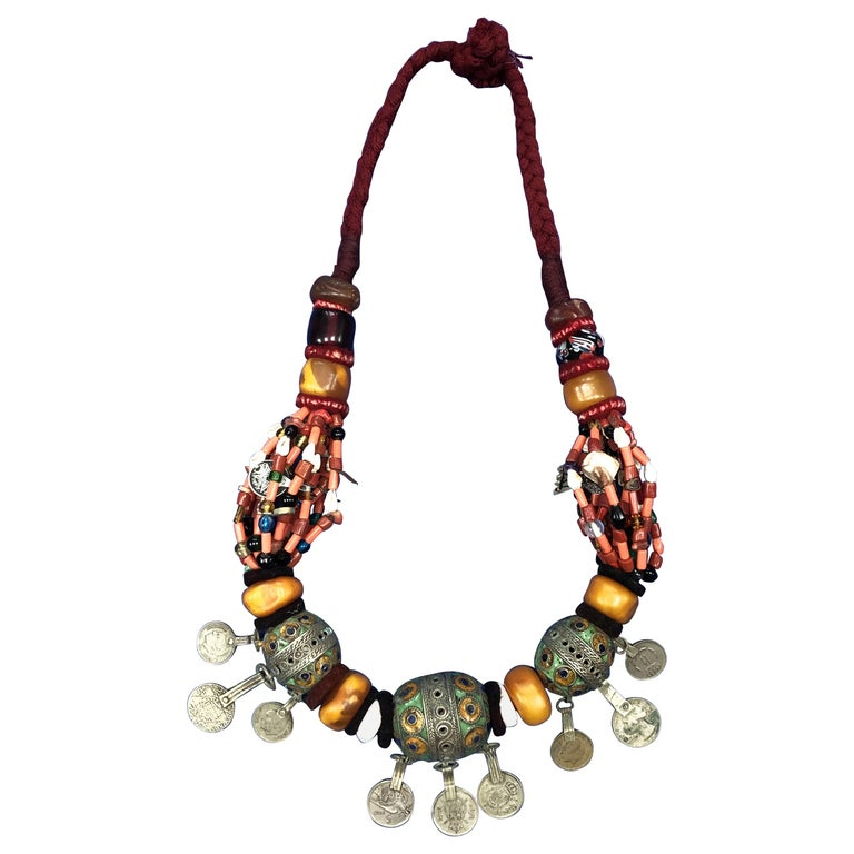 Large Moroccan Berber Bead Necklace: Silver, Enamel Tagemout, Amber, Copal, Coin For Sale