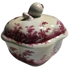 Richard Ginori Mid-18th Century Porcelain Sugar Bowl Fuchsia Landscapes Drawings