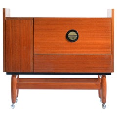 Bar Sideboard on Wheels in Mahogany and Brass, Czechoslovakia, 1970