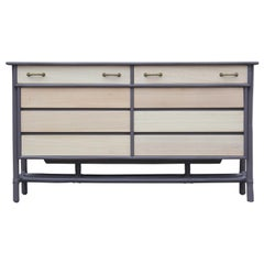 Modern Eight-Drawer Grey and Natural Dresser with Brass Handles by McGuire