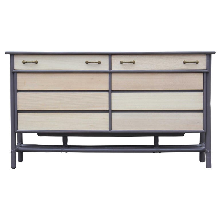 Modern Eight-Drawer Grey and Natural Dresser with Brass Handles by McGuire For Sale