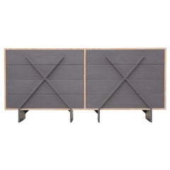 "Modern Custom Double ""X"" Grey and Cerused Eight-Drawer Dresser"