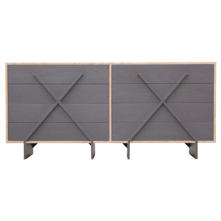 "Modern Custom Double ""X"" Grey and Cerused Eight-Drawer Dresser For Sale"