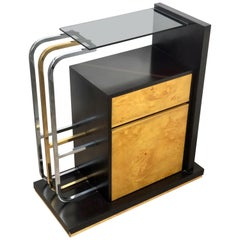 Willy Rizzo Console Table in Wood, Brass, Chrome and Smoked Glass, 1970s, Italy
