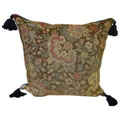 Wool Needlework Pillow with Indigo Silk Tassels, French, 19th Century