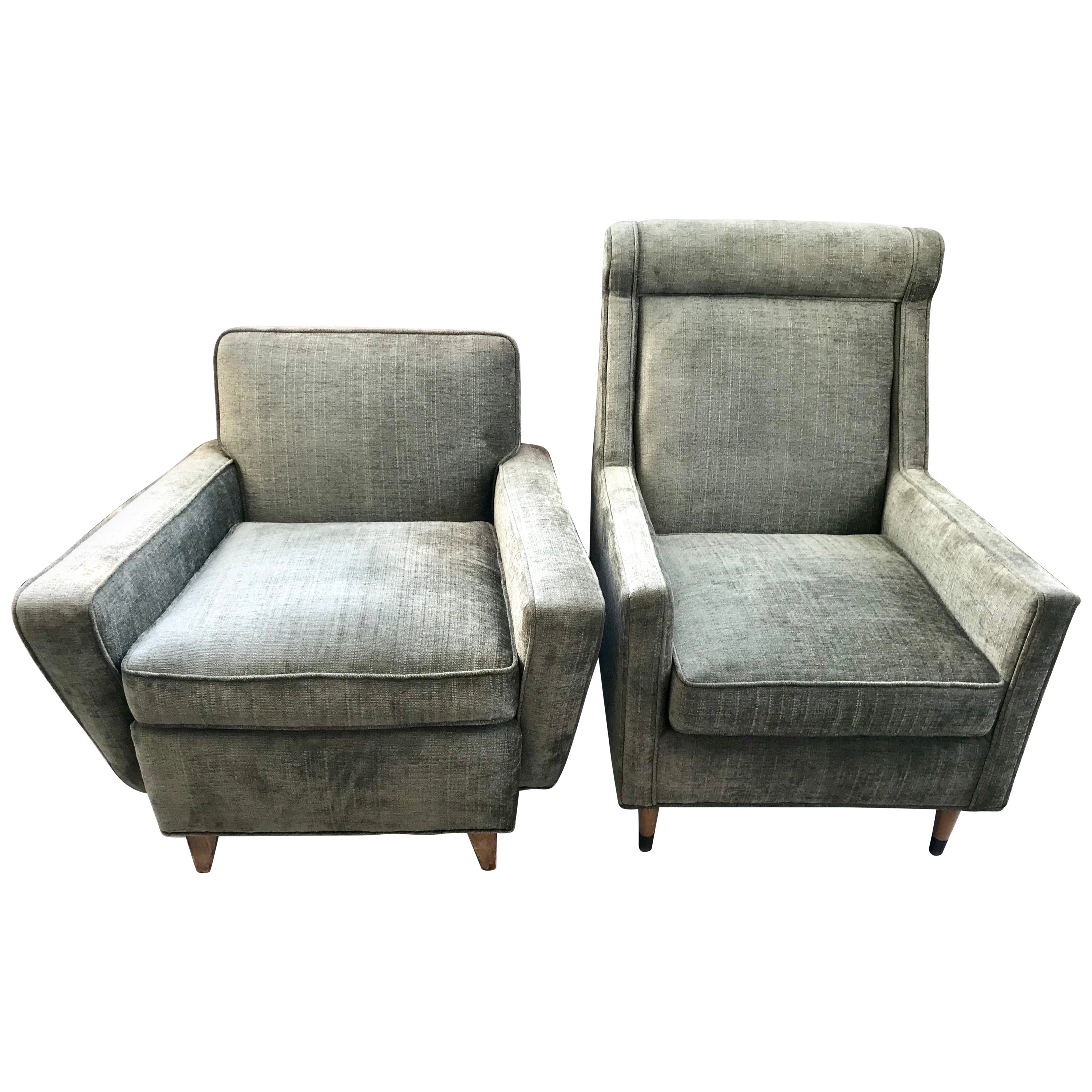 Pair of Mid-Century Modern His and Hers Olive Velveteen Danish Lounge Chairs