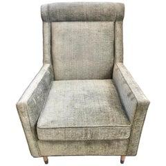 Mid-Century Modern Velveteen Olive Green Upholstered Lounge Chair