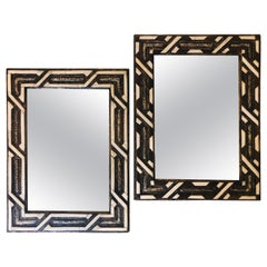 Compatible Moroccan White Bone Wall Console Mirrors in Hollywood Regency Style