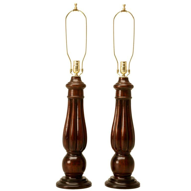 English Mahogany Table Lamp, circa 1920- 1stdibs New York For Sale