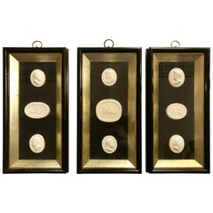Set of 3 Shadow Box Framed Plaster Intaglios 9 Total