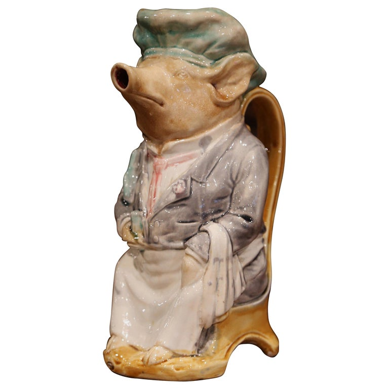 19th Century French Hand Painted Ceramic Barbotine Pig Pitcher by Onnaing For Sale