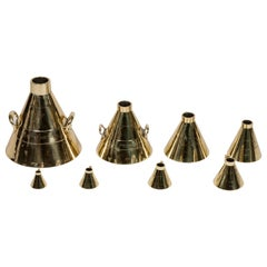 8 Brass Imperial Liquid Measures Made for Aberdeen County, Dated 1890