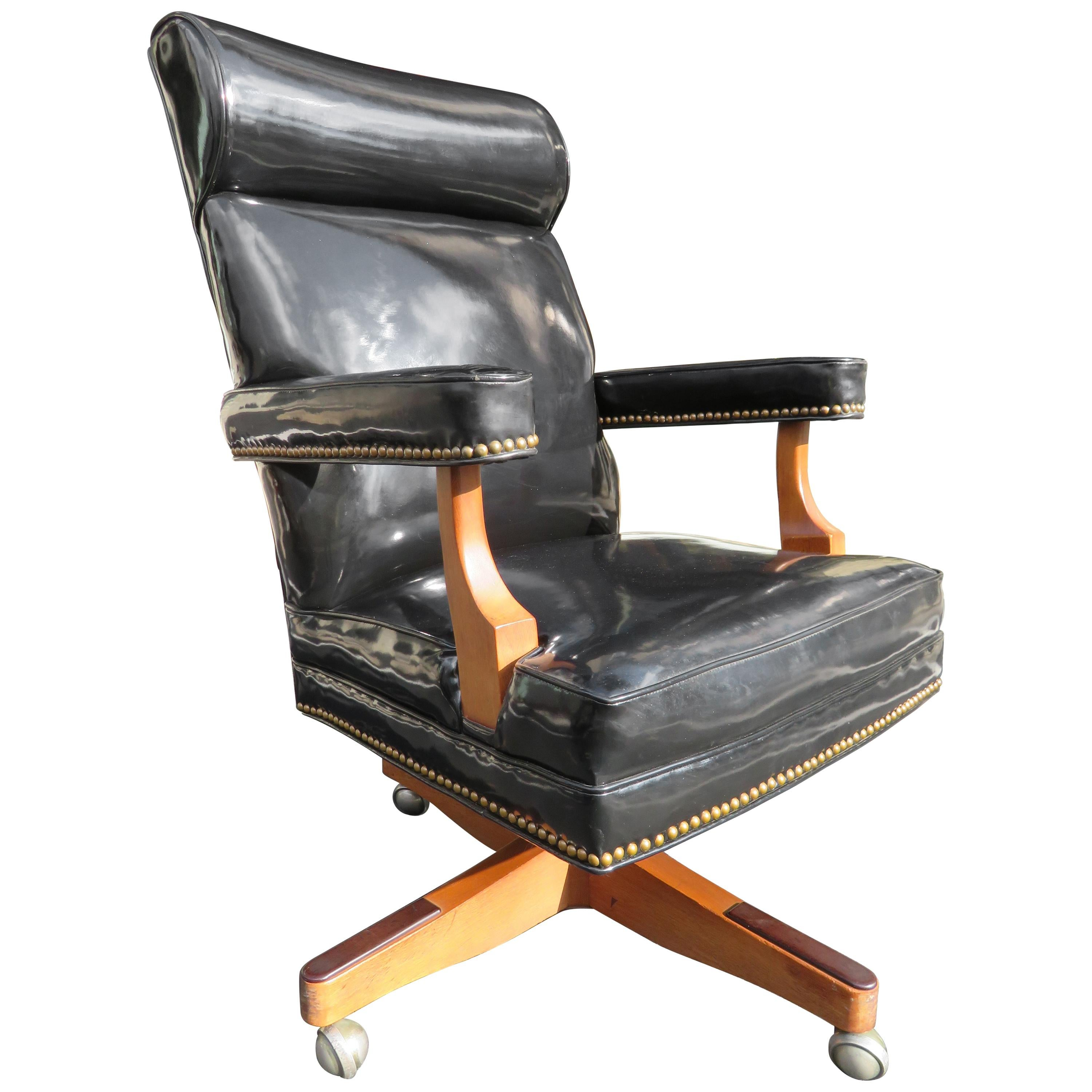 Handsome Oversized Patent Leather Rolling Executive Desk Chair For Sale At  1stdibs