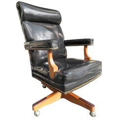 Handsome Oversized Patent Leather Rolling Executive Desk Chair