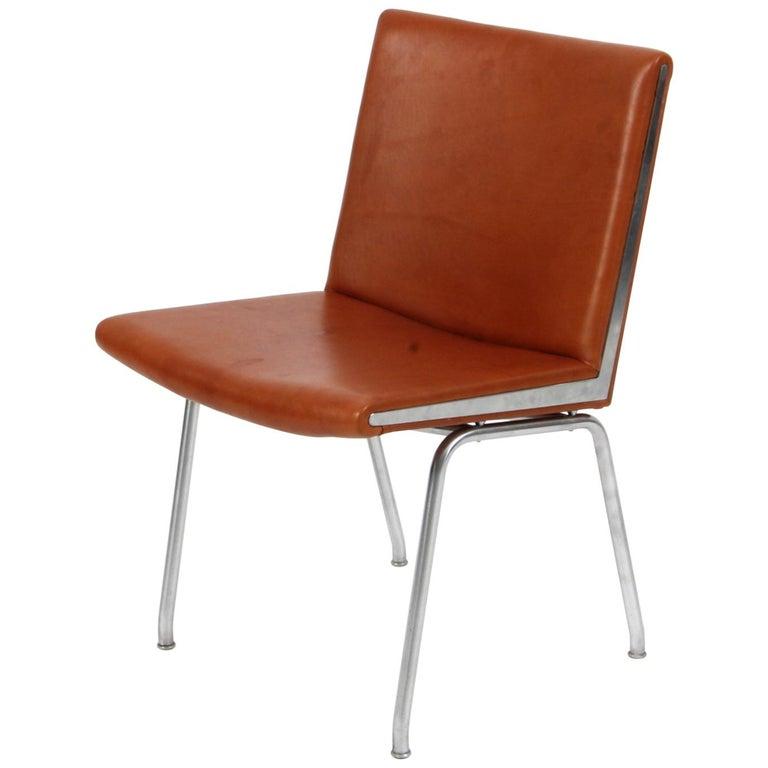 Hans J. Wegner Lufthavnsstole Model AP38, Cognac Aniline Leather For Sale