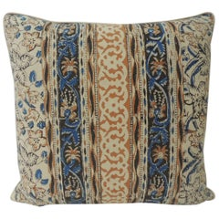 Vintage Indian Hand-Blocked Artisanal Textile Decorative Square Pillow