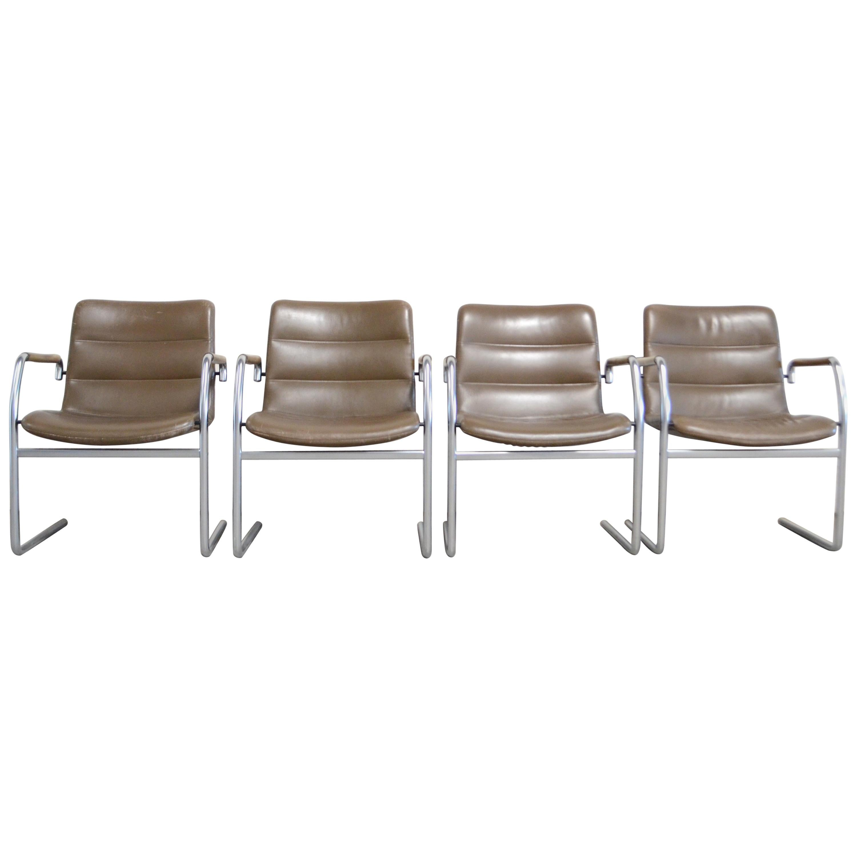 Jorgen Kastholm 4 Cantilever Leather Armchair Chair for Kusch+Co