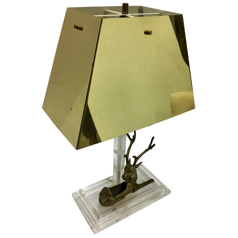 Mid-Century Modern Lucite and Brass Table Lamp with Reindeer Deer Card Holder For Sale