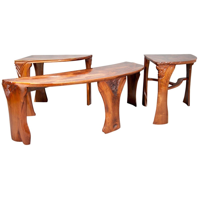Highly Figured Organic Live Edge and Carved  Walnut Coffee and End Table Suite For Sale