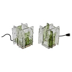 Pair of 1970s Vintage Carlo Nason for Mazzega Green and Clear Glass Table Lamps