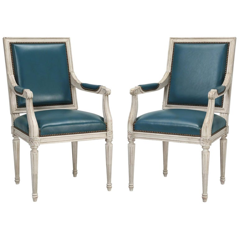 French Louis XVI Style Arm chairs Custom Dyed Blue Leather, Side chair Available For Sale