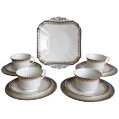 Shelley Porcelain Art Deco Period Part Tea Set with 13 Pieces, circa 1920