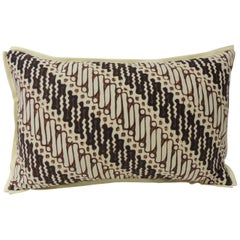 Vintage Brown and Black Batik Decorative Lumbar Pillow