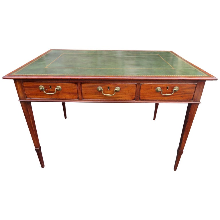 19th Century George III Double-Sided Partner Leather-Top Library Table or Desk