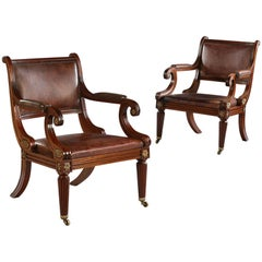 Pair of Early 20th Century Edwardian Mahogany and Leather Library Armchairs